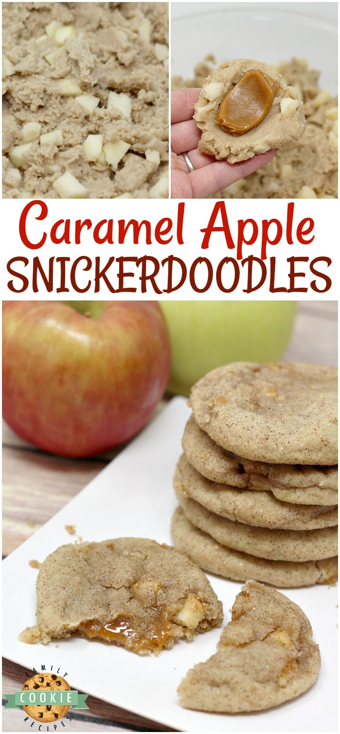 Caramel Apple Snickerdoodles combine the taste of your favorite cinnamon/sugar cookie with the deliciousness of chewy caramel and fresh apples too!