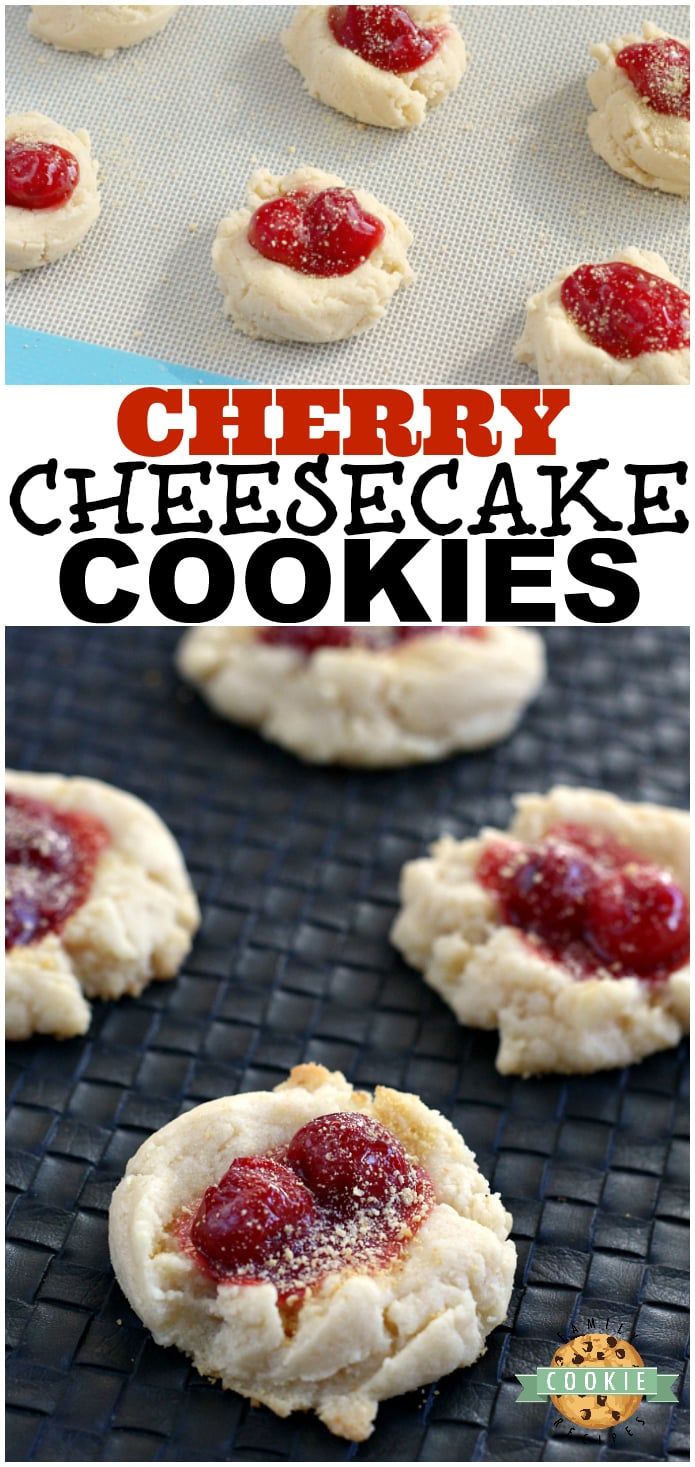 Cherry Cheesecake Cookies have cream cheese and cheesecake pudding in them, are topped with a little bit of cherry pie filling and then sprinkled with graham cracker crumbs!