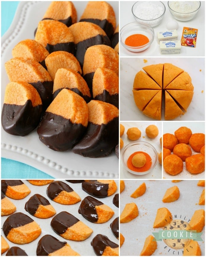 Chocolate Orange Slice Cookies mimic orange slices dipped in chocolate. Bright, tangy citrusy flavor comes from orange Kool-Aid mix baked into the cookies! Perfect cookie recipe for cookie exchanges and during the holidays.
