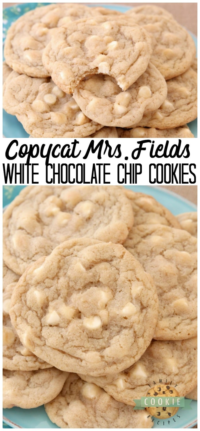 Copycat Mrs.Fields White Chocolate Chip Cookies are soft, delicious cookies filled with sweet white chocolate chips. Copycat Mrs.Field's cookie recipe that everyone can make at home! via @familycookierecipes