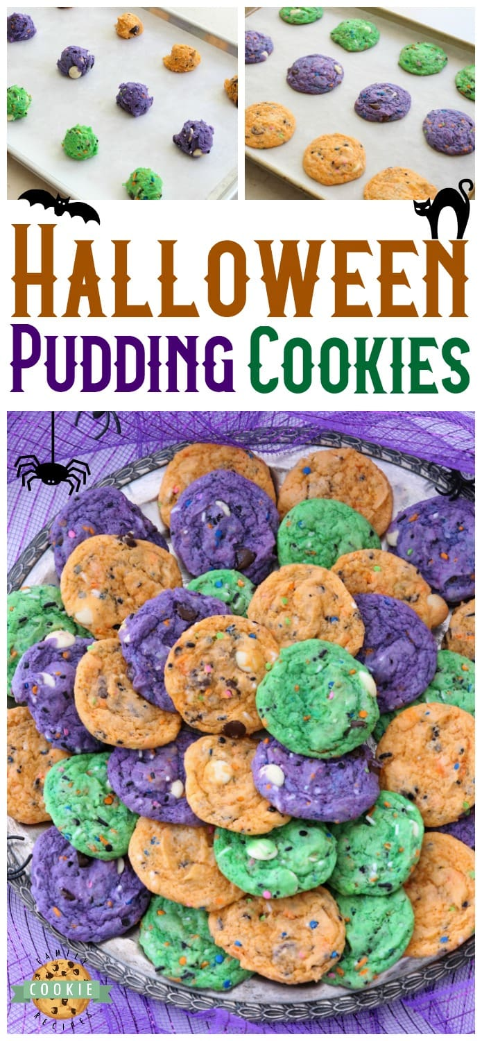 Funfetti Halloween Cookies are tasty & spooky treats made colorful with festive sprinkles baked into each cookie. We added pudding mix for texture and color for FUN! via @familycookierecipes