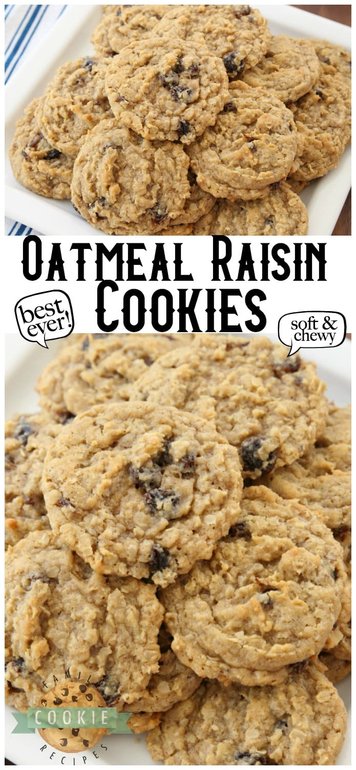 Oatmeal Raisin Cookies that truly are the BEST EVER! Oatmeal, raisins, pudding mix & spices combine in most delicious, soft & chewy Oatmeal Raisin Cookies. via @familycookierecipes