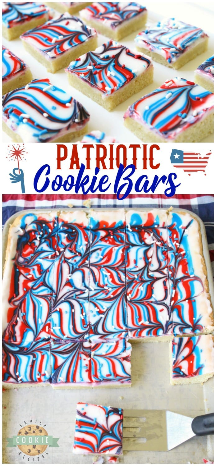 Fun Patriotic Cookie Bars made with swirled red, white & blue icing making them perfectly festive! Easy sugar cookie bar recipe for 4th of July & Memorial Day. #Patriotic #4thofJuly #MemorialDay #redwhiteandblue #cookies #frosting #swirl #dessert