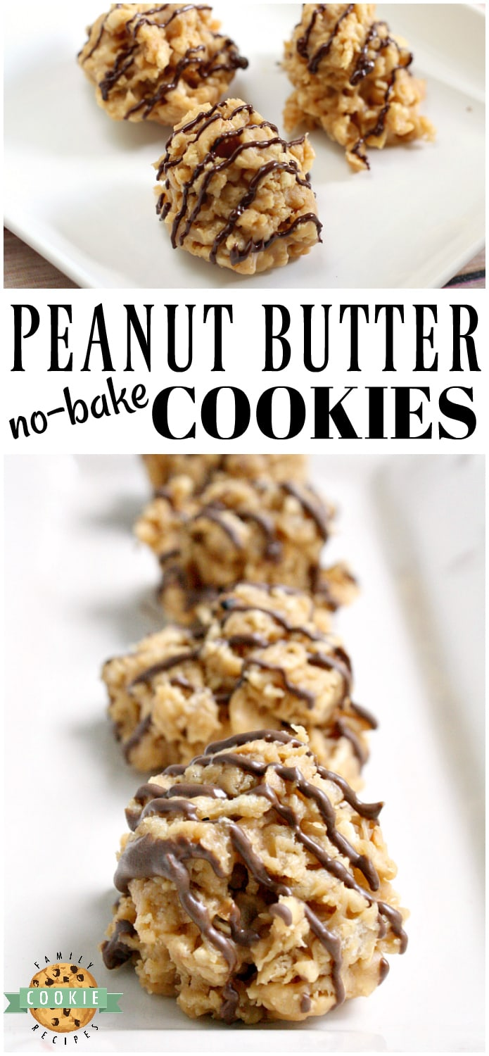 Peanut Butter No Bake Cookies are crunchy, sweet and full of flavor and they only take a few minutes start to finish to make! via @familycookierecipes