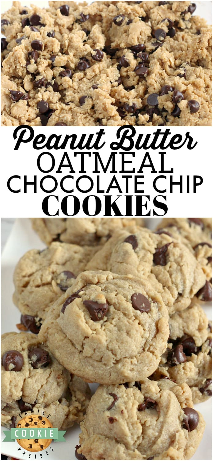 Peanut Butter Oatmeal Chocolate Chip Cookies are all three of my favorite cookie recipes put together! These thick, chewy cookies are the perfect recipe when you just can't decide what kind of cookie you want to bake! via @familycookierecipes