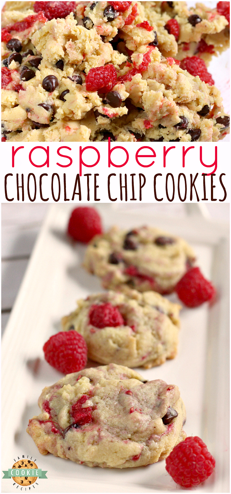 Raspberry Chocolate Chip Cookies is a new invention of mine and I want to share it with all of you! I make a lot of treats at my house and there are quite a few that I love, but even with all of the fancy treats I have made, I still feel like chocolate chip cookies are my favorite. via @familycookierecipes