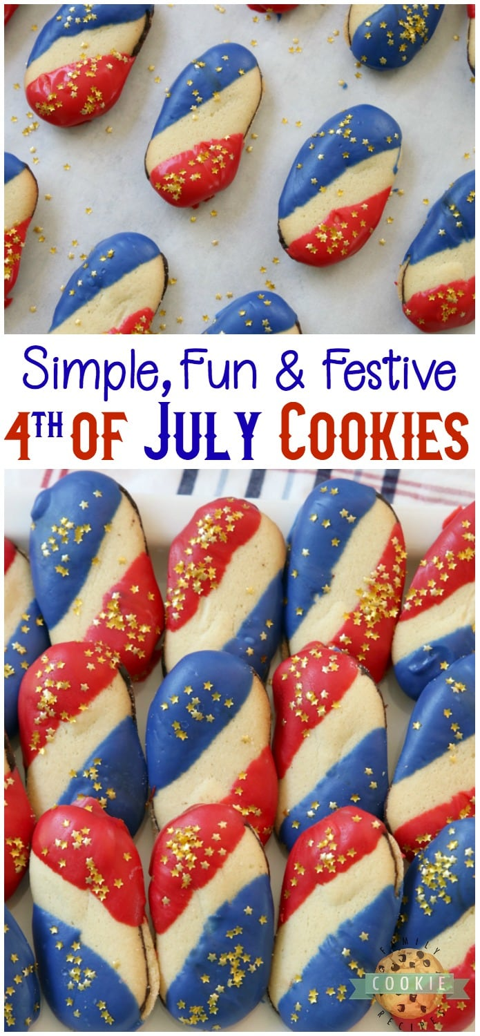 Super Simple 4th of July Cookies made with just 4 ingredients and NO BAKE! Easy red, white and blue cookies made with Milano cookies dipped in red and blue melting chocolate then sprinkled with gold stars.Made in just 15 minutes and they're perfectly patriotic! #4thofJuly #patriotic #cookies #redwhiteandblue #cookie #recipe #simple Recipe from FAMILY COOKIE RECIPES
