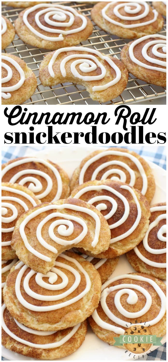 Cinnamon Roll Snickerdoodles are your favorite snickerdoodle cookies with the addition of a sweet vanilla swirl on top! A fun variation on a Snickerdoodle recipe for anyone who loves Cinnamon Rolls! #snickerdoodle #cookies #snickerdoodles #cookie #baking #cinnamon #dessert from FAMILY COOKIE RECIPES