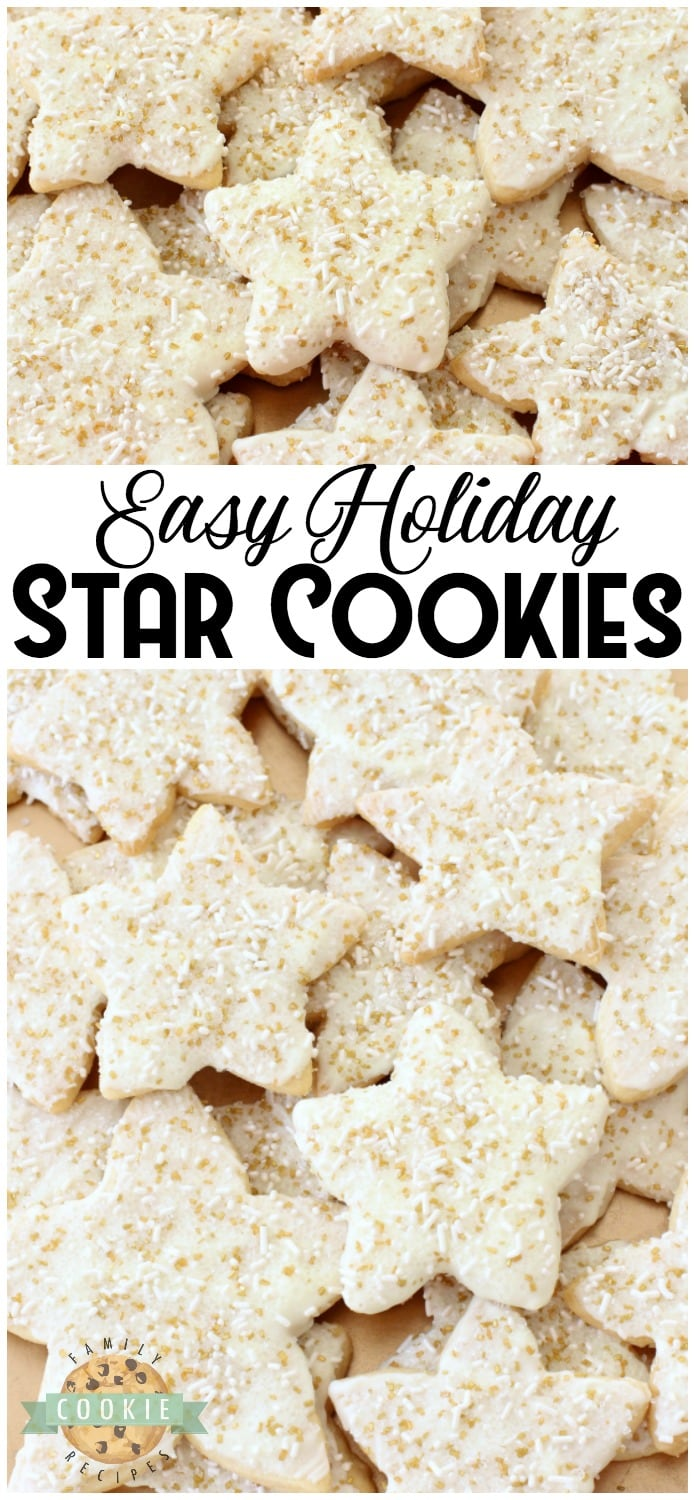 Holiday Star Cookies are bright, buttery & sparkly. They're perfect for the holidays! Candy coated & sprinkled to holiday perfection, everyone loves these melt-in-your mouth vanilla shortbread cookies. #cookies #shortbread #star #cookie #recipe #holidays #Christmas from FAMILY COOKIE RECIPES
