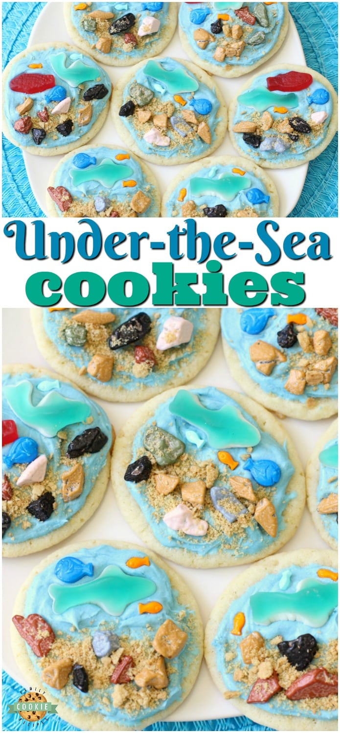 Under the Sea Cookies are soft sugar cookies topped with a fun ocean scene complete with gummy fish & sharks, chocolate rocks and a brown sugar ocean floor! Perfect for celebrating summer at the sea!  #cookies #underthesea #oceanlife #sharks #fish #cookie #recipe from FAMILY COOKIE RECIPES