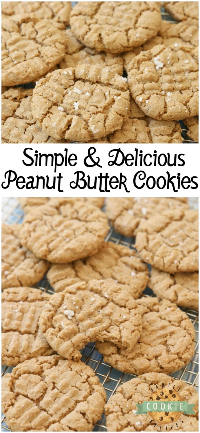 Easy Peanut Butter Cookies made with just a handful of ingredients and no flour! Easy peanut butter cookie recipe made with peanut butter, brown sugar, an egg and baking soda. #peanutbutter #cookies #recipe #cookie #baking #desserts from FAMILY COOKIE RECIPES