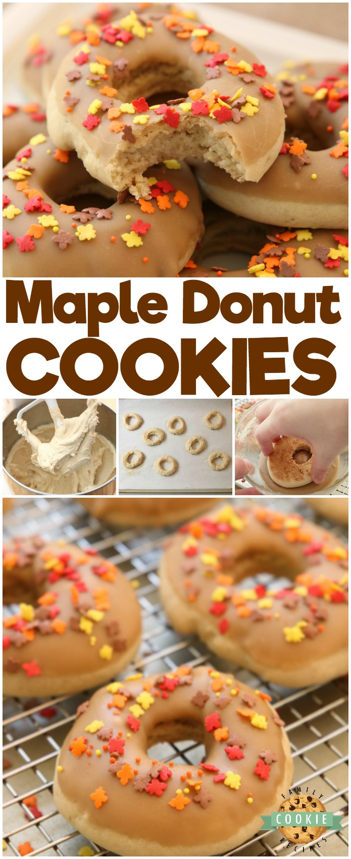 Maple Donut Cookies are soft & pillowy donut-shaped cookies with a lovely maple glaze topping. Everything you love about maple donuts, only in cookie form! #maple #donut #cookies #baking #Fall #frosting #sprinkles #recipe from FAMILY COOKIE RECIPES