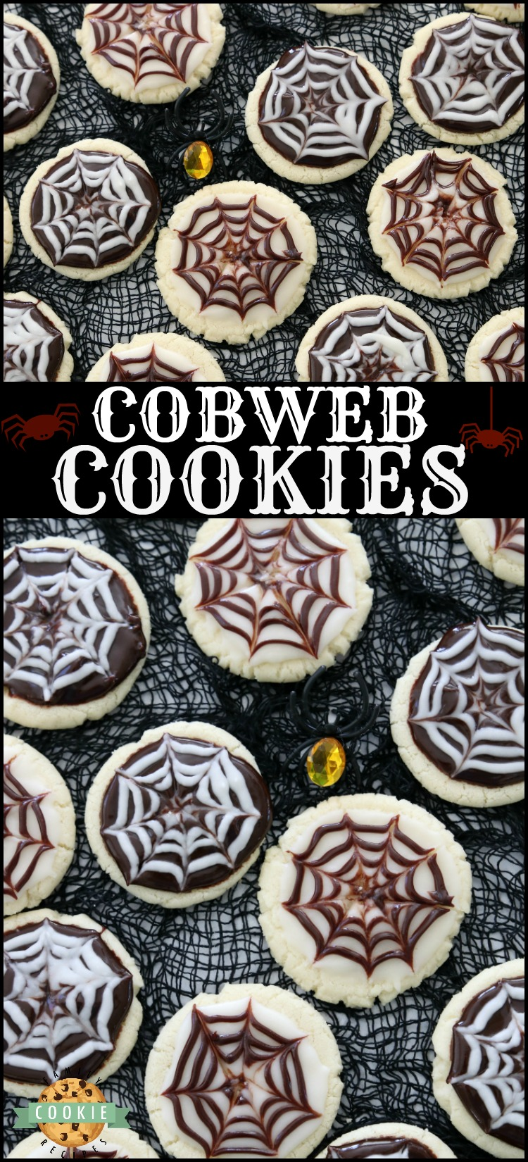 Halloween Cobweb Cookies are spectacularly spooky and completely delicious! Sugar cookies topped with chocolate & vanilla icing- no coloring! Quick & easy spider web design made in seconds. Perfect Halloween treats! via @buttergirls