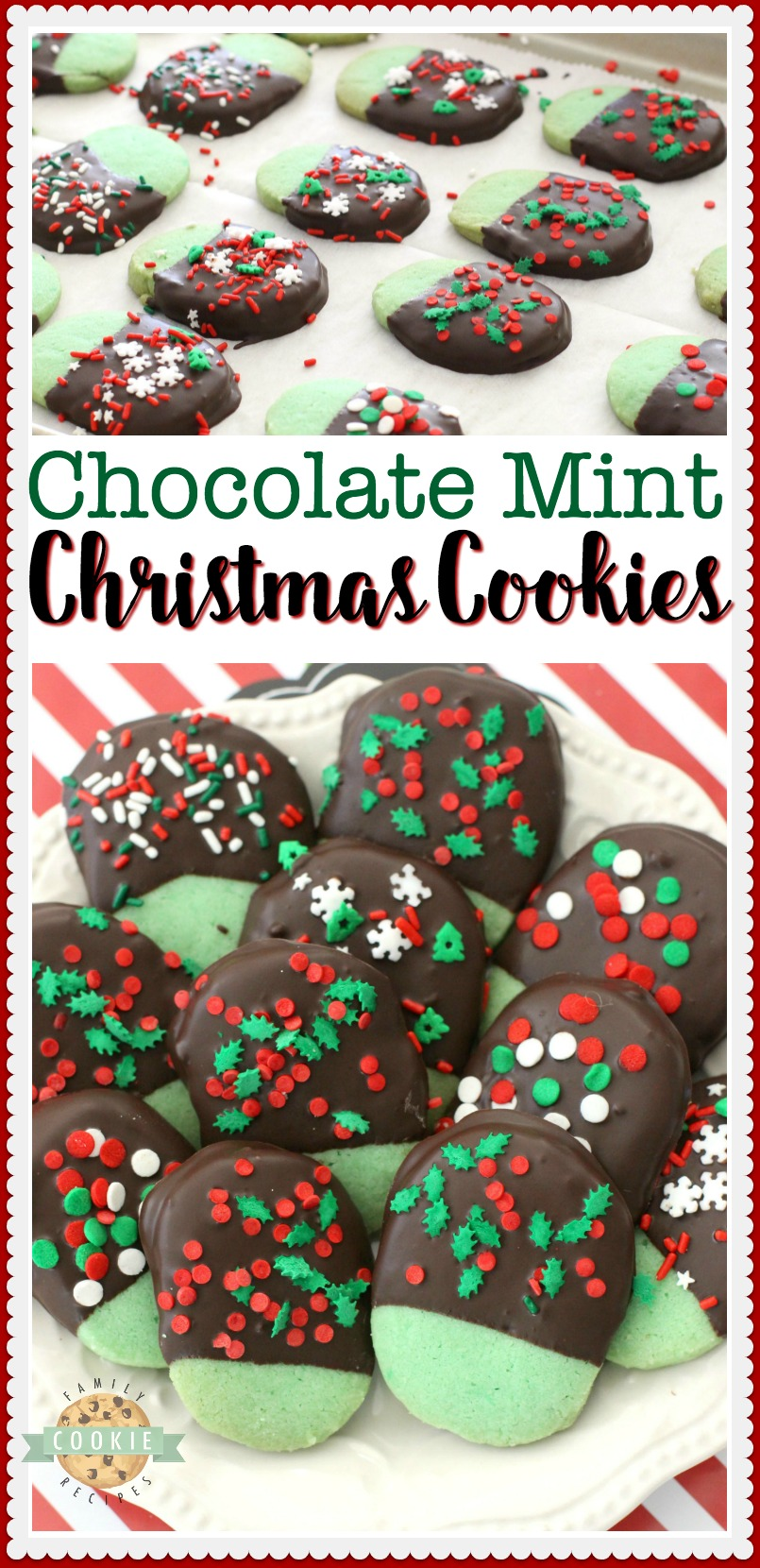 Mint Christmas Cookies made from a buttery shortbread cookie dipped in chocolate & topped with holiday sprinkles. Mint flavored Christmas Cookies perfect for cookie exchanges and gift plates! #Christmas #cookies #mint #chocolate #cookie #recipe #holiday #baking from FAMILY COOKIE RECIPES