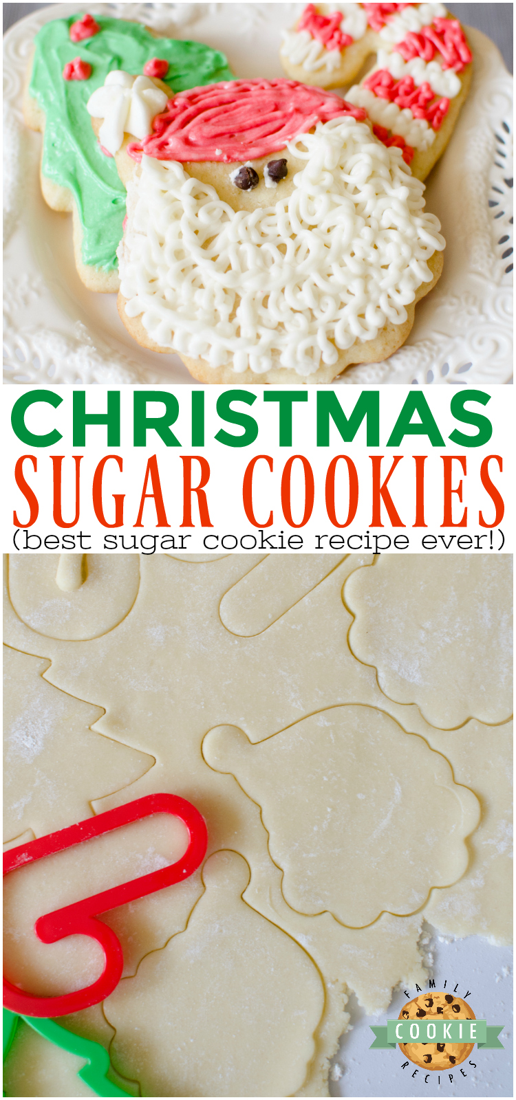 Christmas Sugar Cookies are a necessary holiday tradition at our house! This simple sugar cookie recipe produces soft, chewy and delicious cut-out cookies that can be decorated with a simple 4-ingredient buttercream frosting. via @familycookierecipes