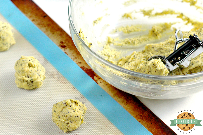 Lemon Poppyseed Cookies are easily made with a lemon cake mix, lemon zest, poppy seeds, eggs and butter. The lemon glaze on top is simple and delicious too!