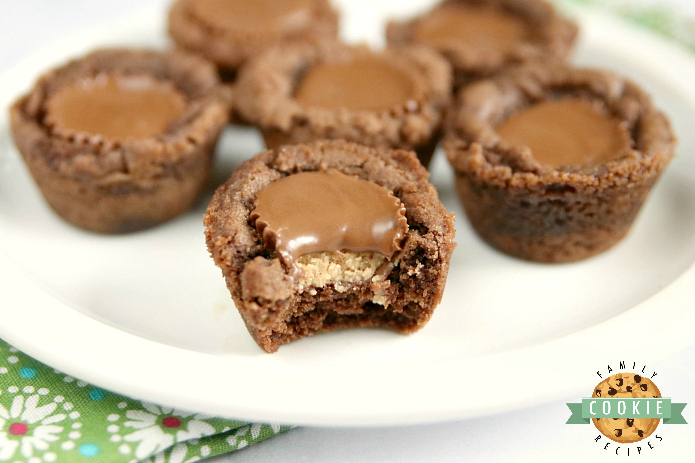 Reese's Chocolate Cookie Cups are bite-sized treats made with a delicious chocolate cookie base that is filled with a miniature Reese's Peanut Butter Cup! The perfect chocolate and peanut butter dessert!