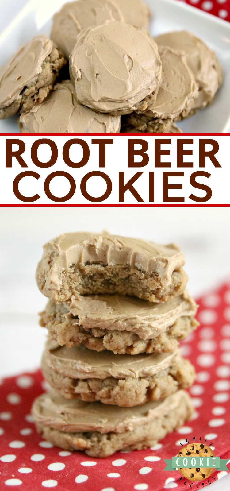 Root Beer Cookies are soft and delicious with root beer extract in the cookies and the buttercream frosting on top. via @familycookierecipes