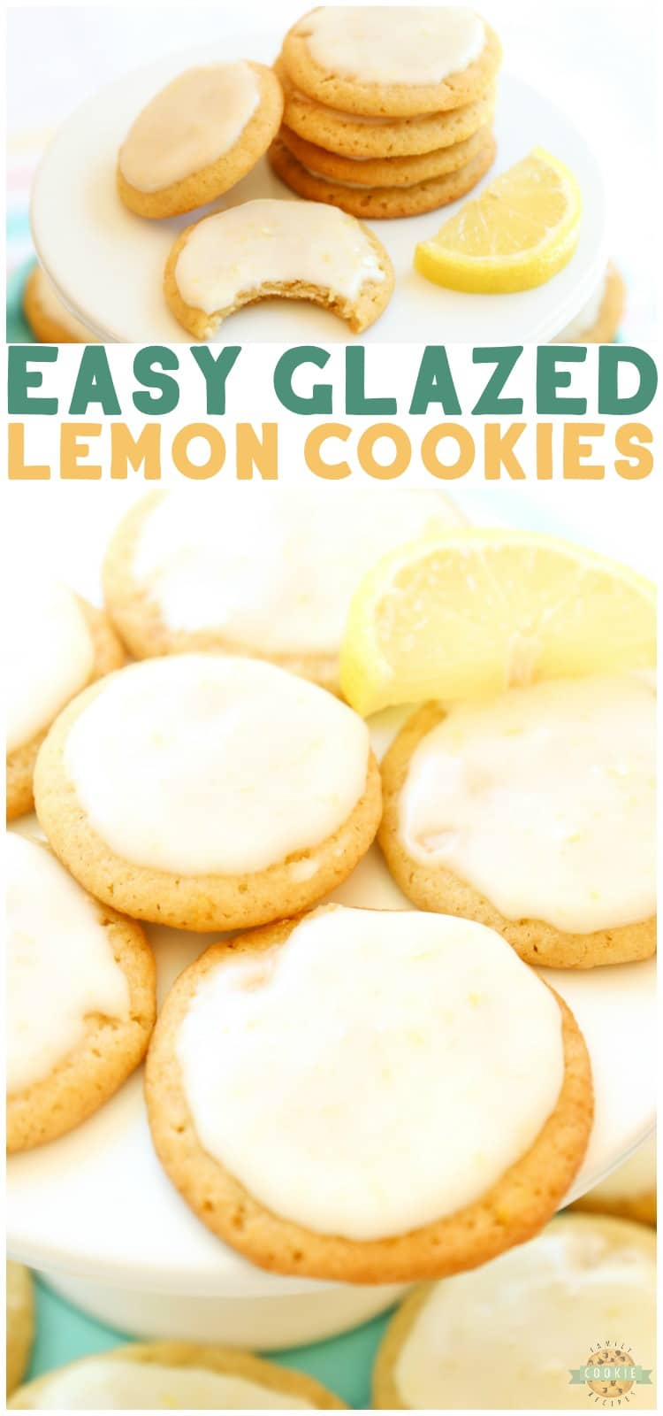 Glazed Lemon Cookiesare sweet frosted lemon butter cookies made with fresh lemons. This delicious lemon cookie recipeis the perfect amount of sweet and tart. via @familycookierecipes