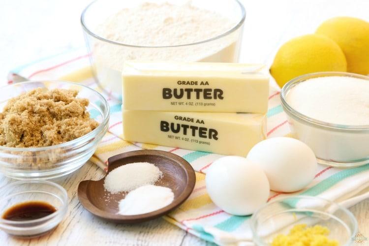 Ingredients to make lemon cookies