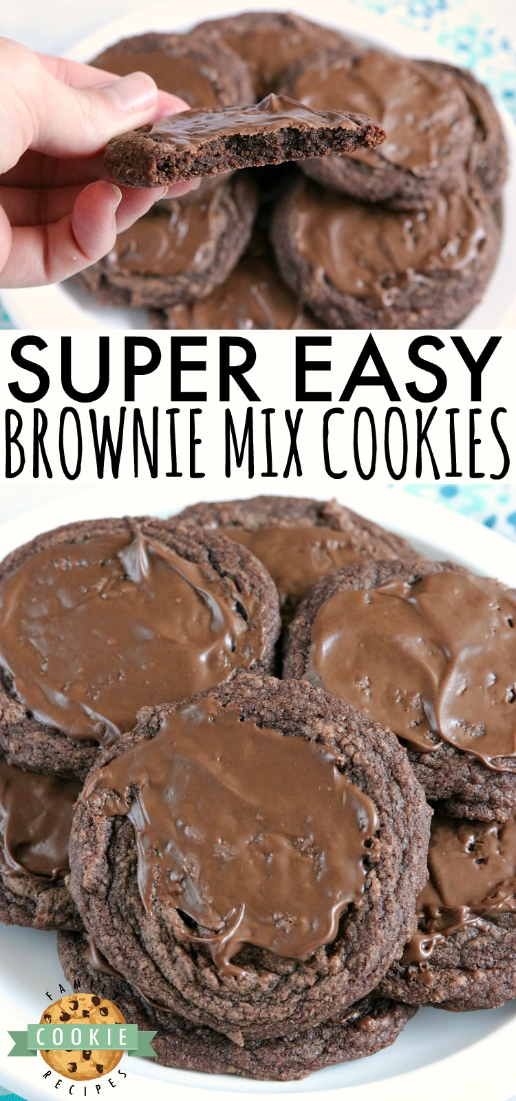 Easy Brownie Cookies are easily made with a brownie mix, butter and an egg and then frosted with a little bit of a melted Hershey bar. One of the easiest cookie recipes ever and they taste just like brownies...in cookie form!