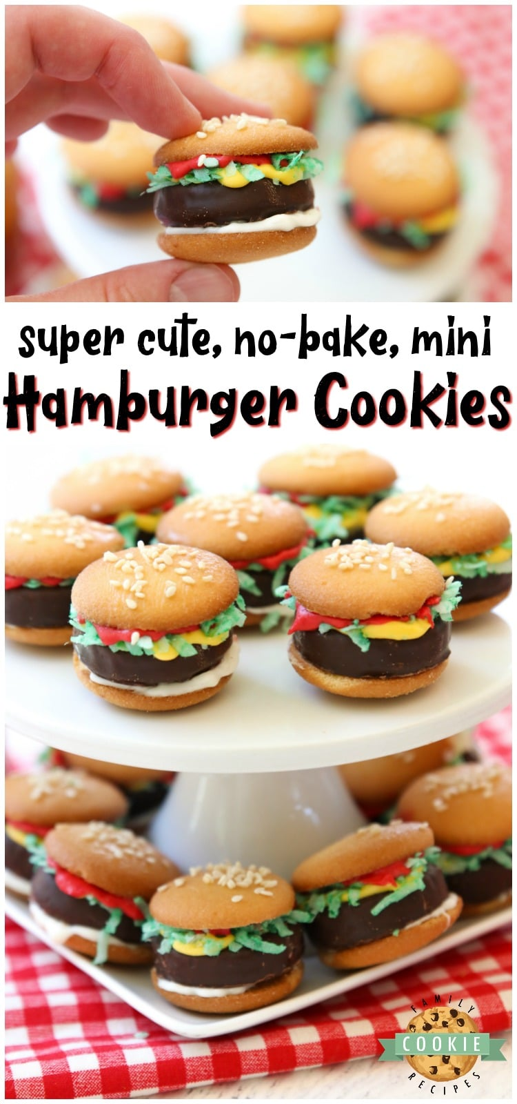 Mini Hamburger Cookies made from Nilla Wafers, York Peppermint Patties and melted candy! Super cute no-bake hamburger cookies that kids go crazy over! via @familycookierecipes