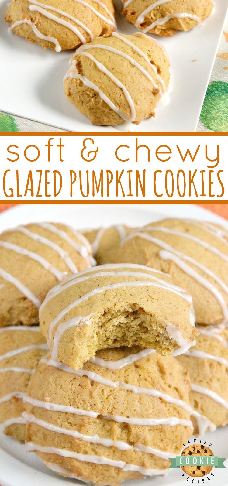Glazed Pumpkin Cookies are soft and chewy and packed with pumpkin, nutmeg and cinnamon. This delicious pumpkin cookie recipe is easy to make and is even more delicious with the simple vanilla glaze drizzled on top.