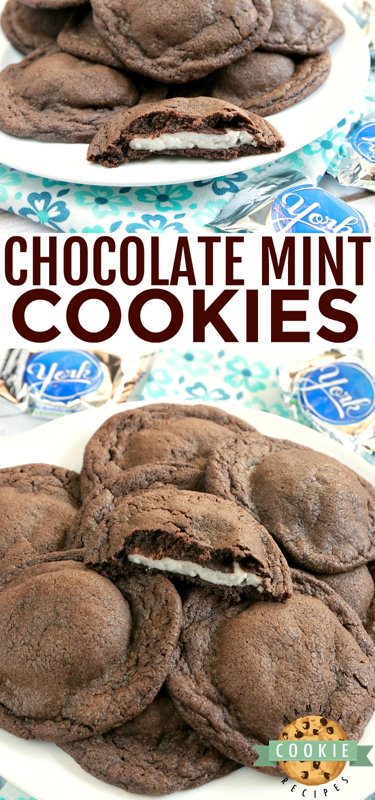 Chocolate Mint Cookies are soft and chewy chocolate cookies that have a York peppermint patty right in the middle. This easy cookie recipe is the perfect balance of chocolate and mint! via @familycookierecipes