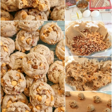 Caramel Spice Cake Mix Cookies made with just 5 ingredients! Soft & chewy spiced cookies with crunchy pecans and sweet caramel baking chips. Perfect Fall cookie recipe!