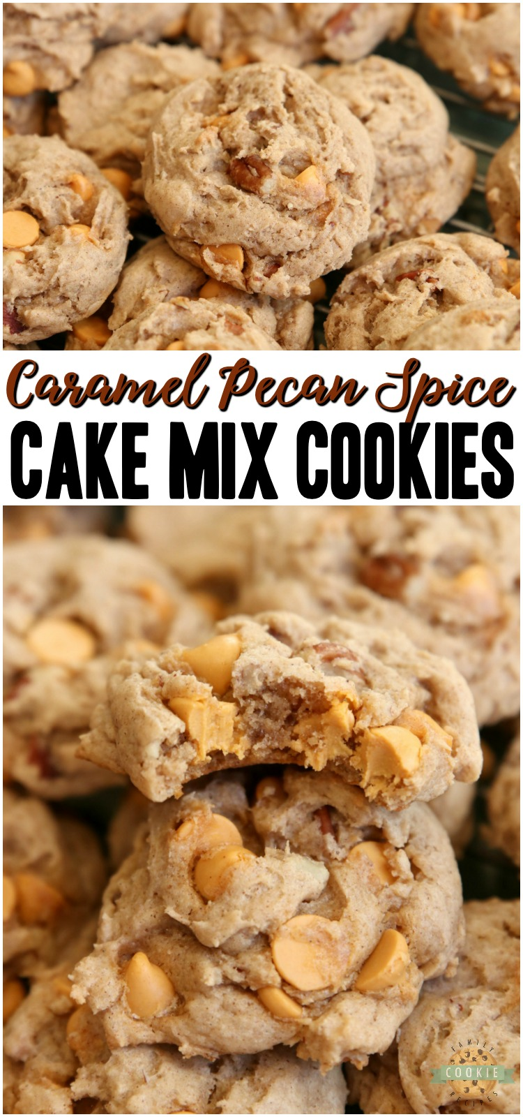 Caramel Spice Cake Mix Cookies made with just 5 ingredients! Soft & chewy spiced cookies with crunchy pecans and sweet caramel baking chips. Perfect Fall cookie recipe! #cookies #spicecakemix #cakemix #caramel #pecan #baking #dessert #recipe from FAMILY COOKIE RECIPES