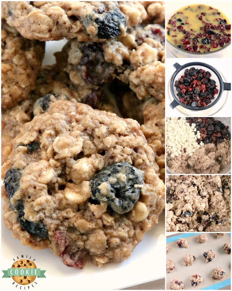 Step by step instructions on how to make oatmeal cookies with cherries and white chocolate chips