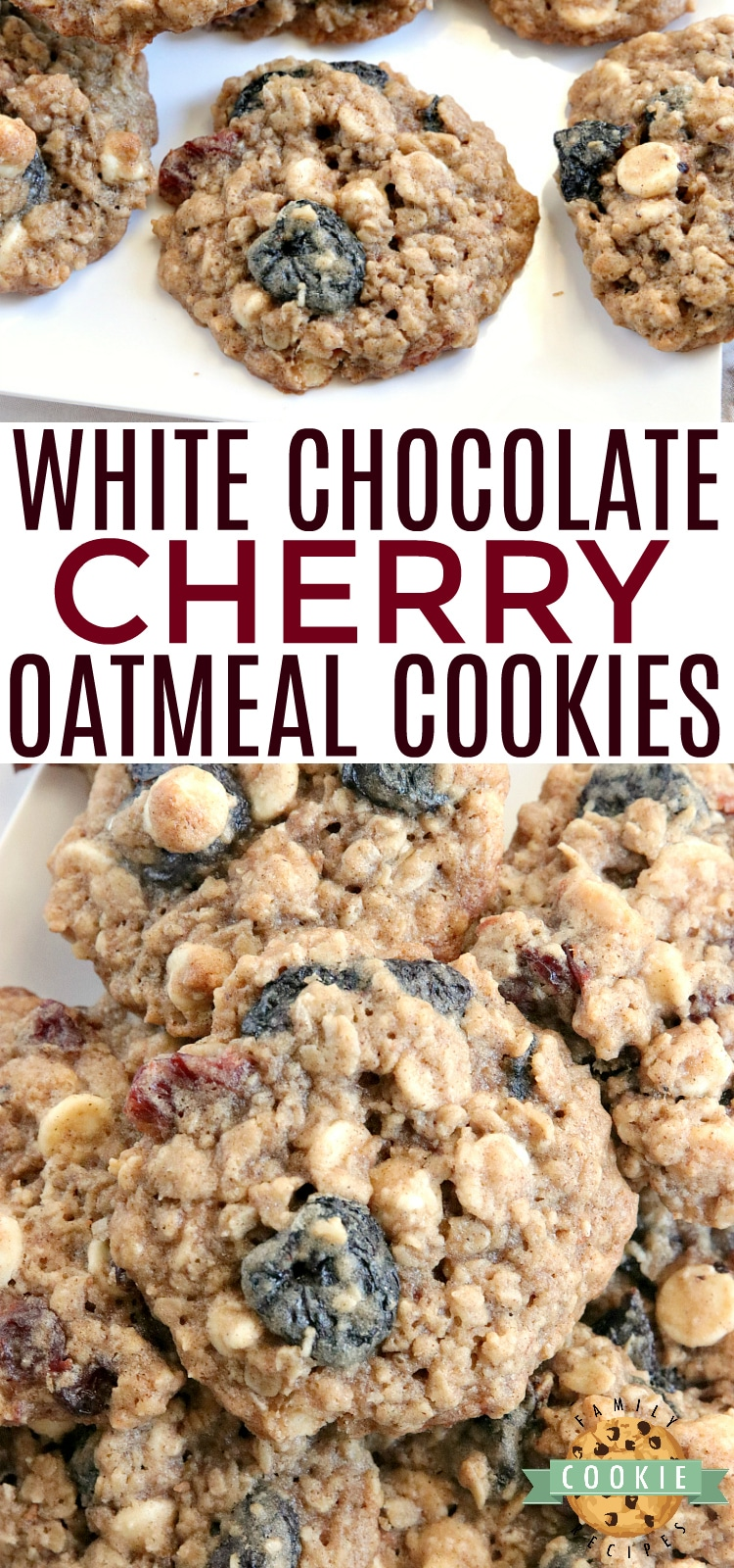 White Chocolate Cherry Oatmeal Cookies are made by adding white chocolate chips and dried cherries to the most amazing oatmeal cookie recipe ever! These cookies are soft and chewy and the flavors are incredible. via @familycookierecipes