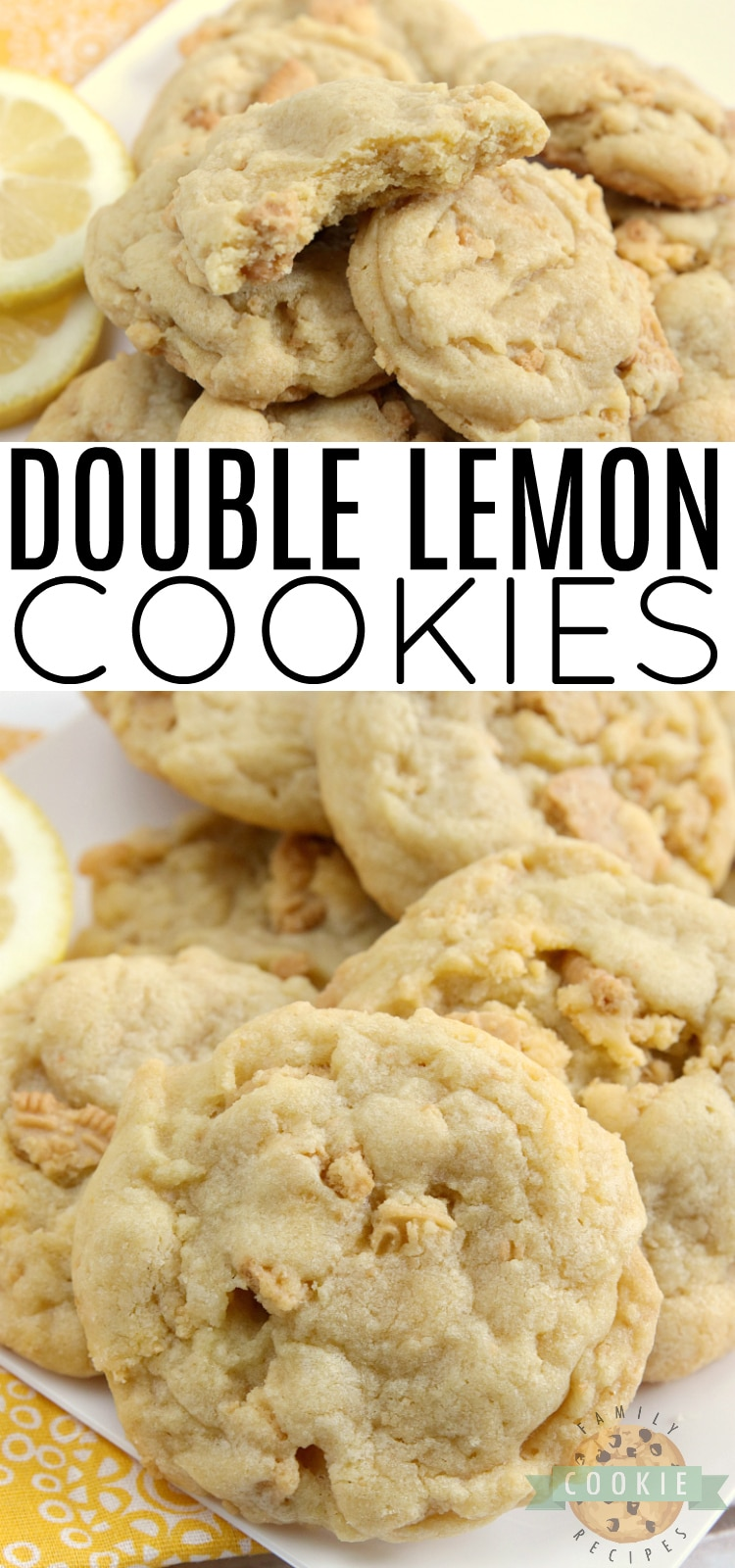 Double Lemon Cookies made with lemon pudding mix and crushed Lemon Oreos for lots of delicious lemon flavor! These cookies are soft, chewy and super easy to make too! via @familycookierecipes