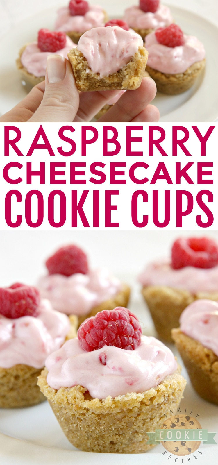 Raspberry Cheesecake Cookie Cups have a raspberry cheesecake filling in a bite-sized graham cracker cookie crust. These delicious cookie cups taste just like raspberry cheesecake and only take a few minutes to make! via @familycookierecipes