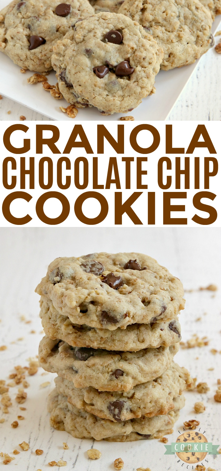 Granola Chocolate Chip Cookies are soft, chewy, full of protein and crunchy granola. With 5 grams of protein per cookie and a little bit of crunch, these have become my new favorite cookie! via @familycookierecipes