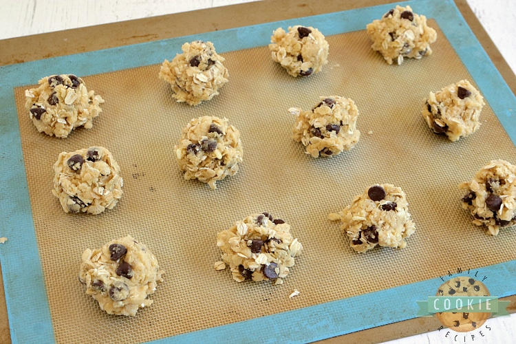 Scooping out chocolate chip cookies