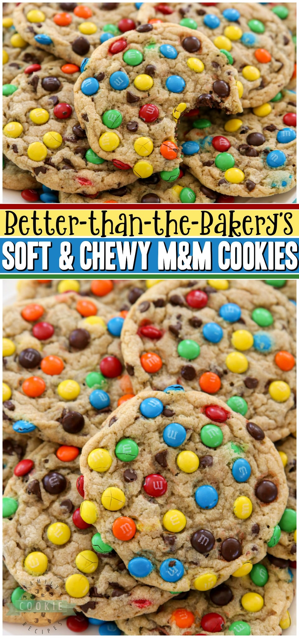 Soft & Chewy M&M Cookies made with butter, sugars, pudding mix & M&M's candy! Easy tip for coating your cookies PERFECTLY with M&M's! BEST #M&M Cookie recipe ever!#cookies #recipe #baking #dessert #softcookies #M&Mcookies from FAMILY COOKIE RECIPES via @familycookierecipes
