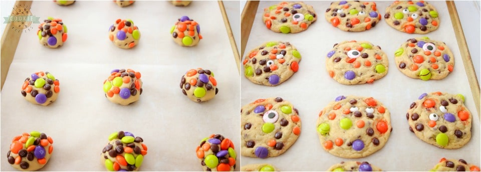 how to make Easy M&M Candy Halloween Cookies recipe