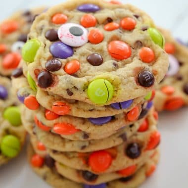 Easy M&M Candy Halloween Cookies recipe
