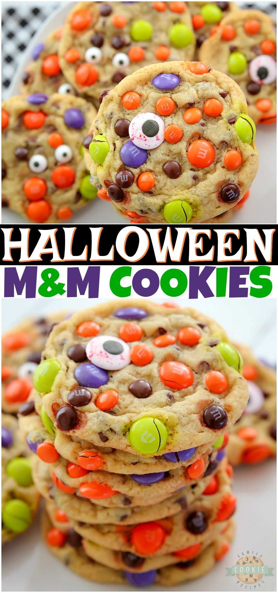 Perfect M&M HALLOWEEN Cookies made with butter, sugars, pudding mix & festive M&M's candies! Fun & festive Halloween Cookie recipe with candy that everyone loves!