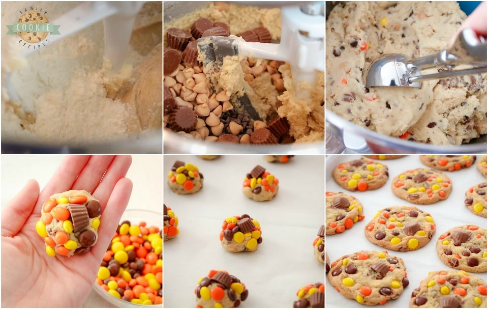 how to make Loaded Reeses Cookies recipe