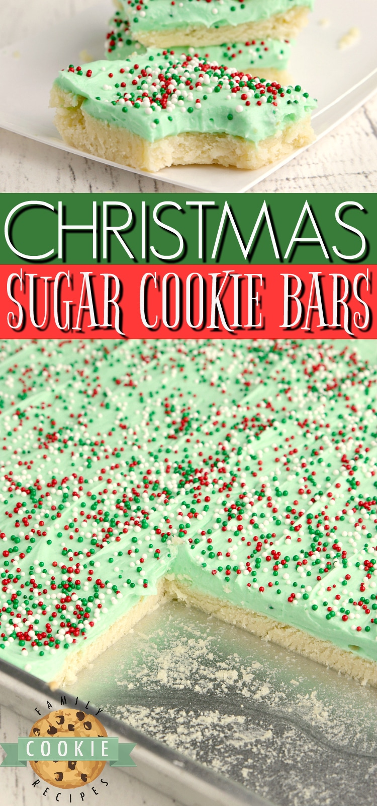 Christmas Sugar Cookie Bars are thick, soft and absolutely amazing! Best sugar cookie bar recipe that I've ever tried! via @buttergirls