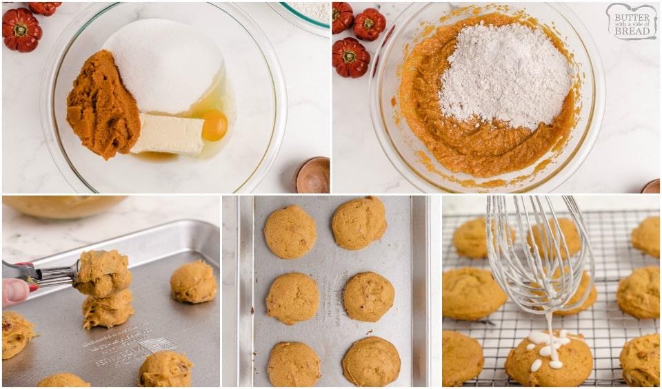 how to make pillowy soft iced pumpkin cookies