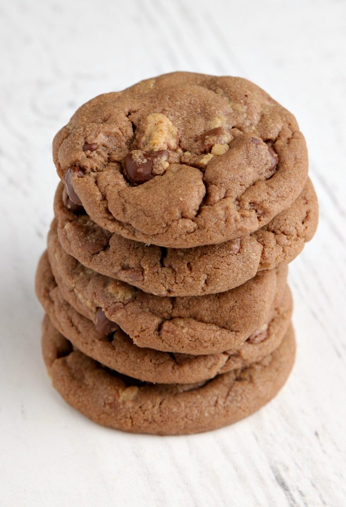 Chocolate cookies made with peanut butter and peanut butter cups