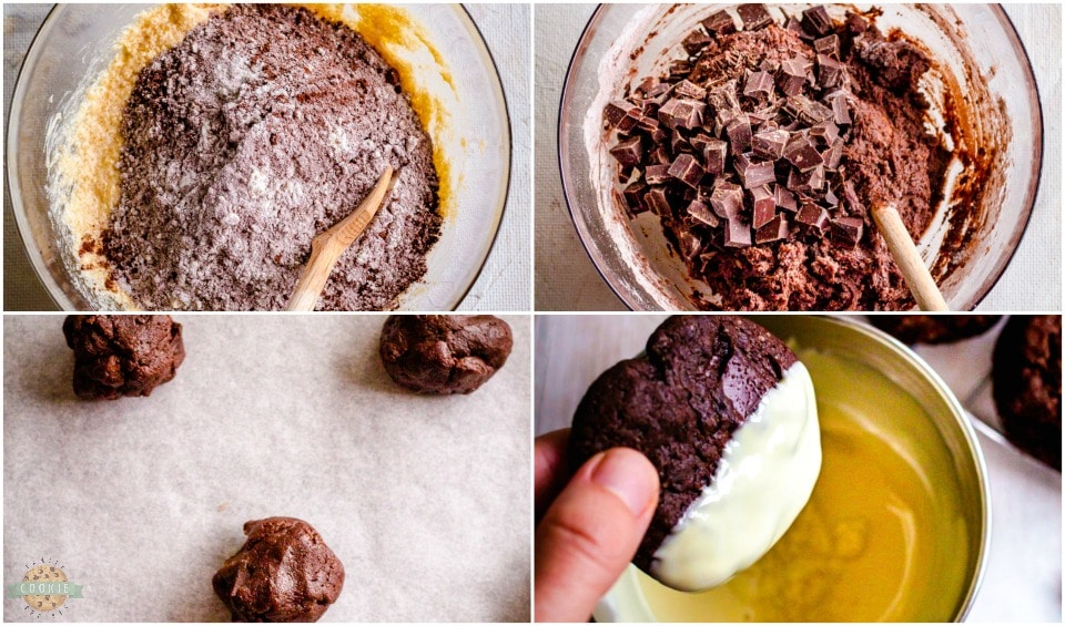 how to make Double Chocolate Brownie Peppermint Cookie recipe