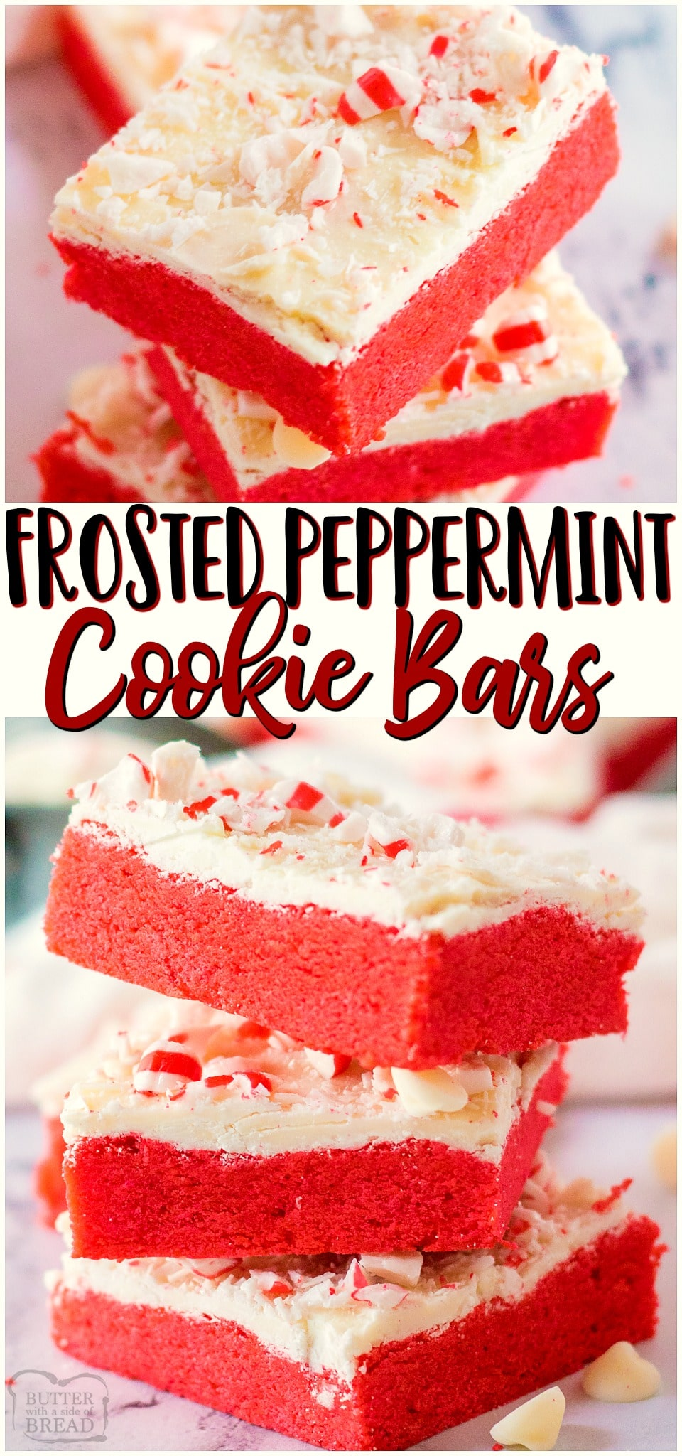 Frosted Peppermint Cookie Barsare festive holiday sugar cookies baked into bars & topped with sweet white chocolate & peppermints! Easy cookie bar recipe with lovely peppermint flavor perfect for Christmas baking.