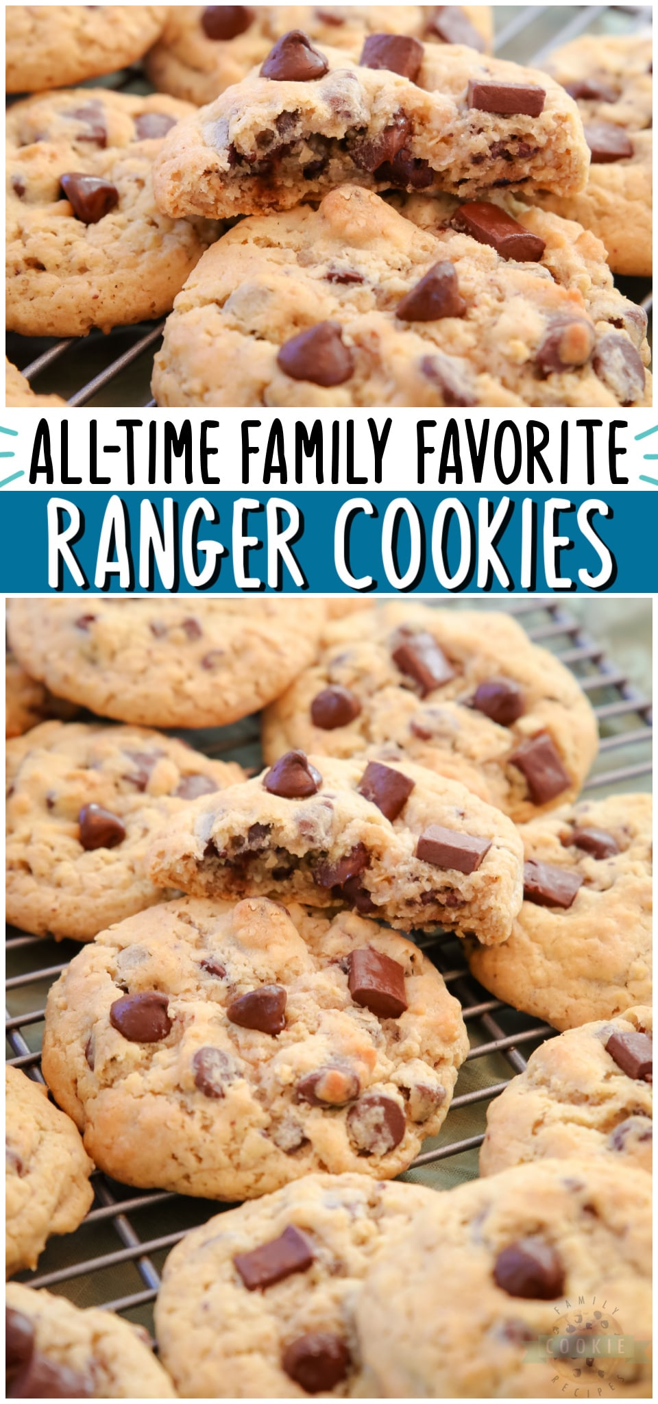 Simple Ranger Cookie recipe made with quick oats and lots of chocolate chips! Soft & chewy chocolate chip cookie with added oats for fantastic flavor & texture. #cookies #ranger #cowboy #oatmeal #baking #desserts #easyrecipe from FAMILY COOKIE RECIPES via @familycookierecipes