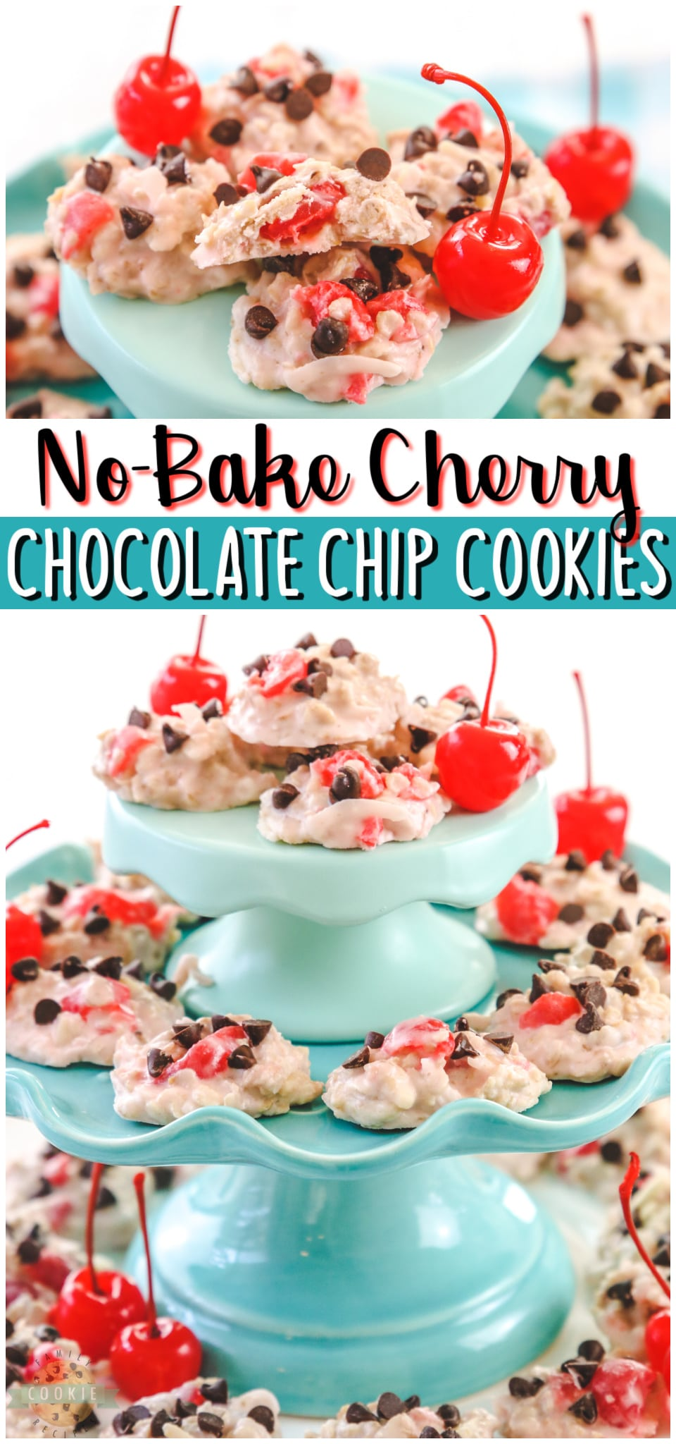 Cherry Chocolate Chip No Bake Cookies are fruity, festive & so simple to make! Incredibly cherry almond vanilla flavor in these easy no-bake cookie recipe. #nobake #cookies #vanilla #cherry #almond #Valentines #dessert #easyrecipe from FAMILY COOKIE RECIPES via @familycookierecipes