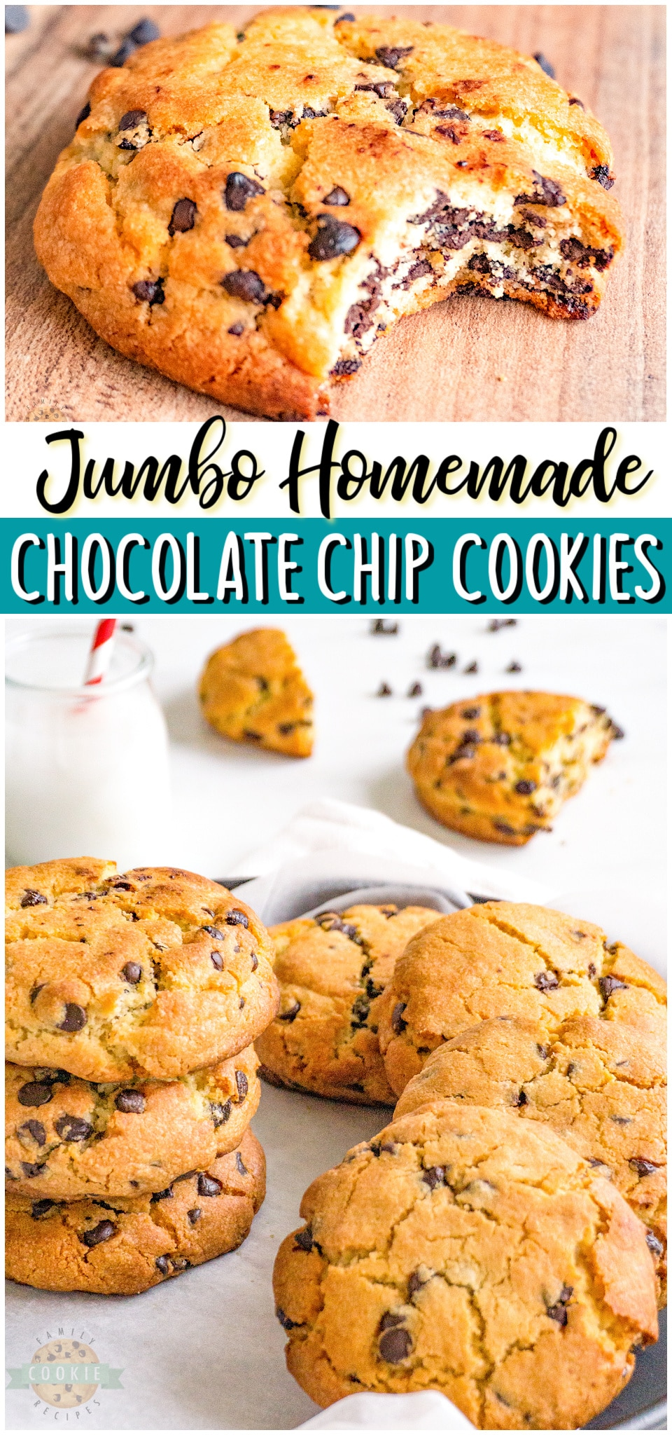 Jumbo Chocolate Chip Cookies made with classic ingredients & twice the size of traditional cookies! Soft, chewy & thick chocolate chip recipe perfect for cookie lovers!#chocolatechip #cookies #jumbo #big #baking #homemade #easyrecipe from FAMILY COOKIE RECIPES via @familycookierecipes