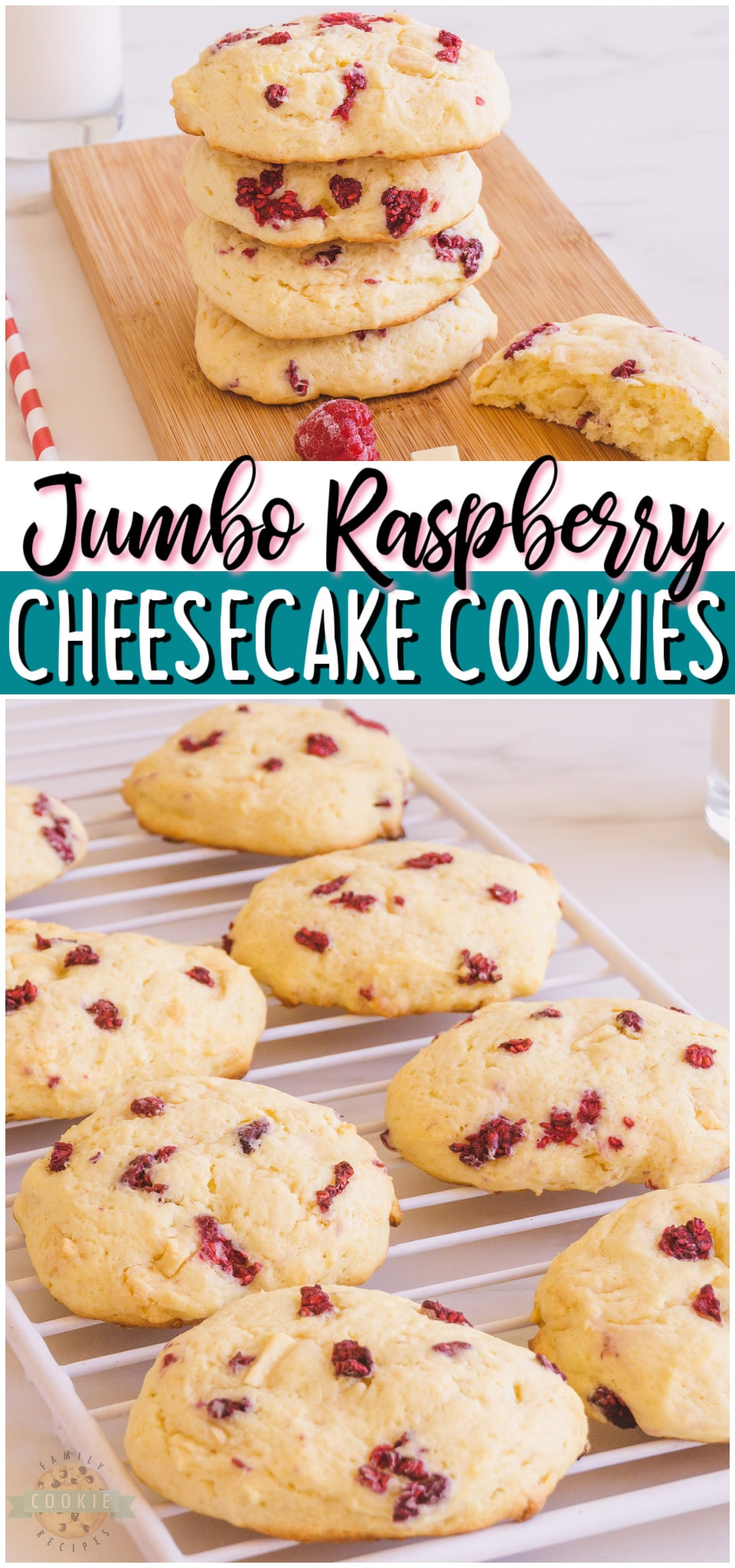 Giant raspberry cheesecake cookies are rich & indulgent cookies made with cream cheese, white chocolate & raspberries! Jumbo sized cheesecake cookies with bright raspberry flavor that everyone loves!